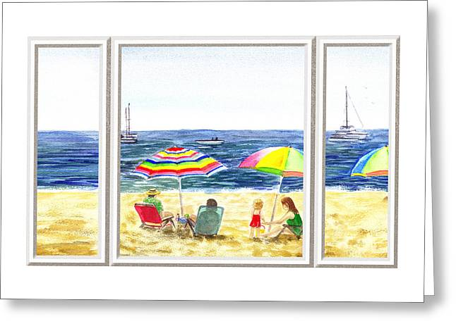 Beach House Window Greeting Card by Irina Sztukowski
