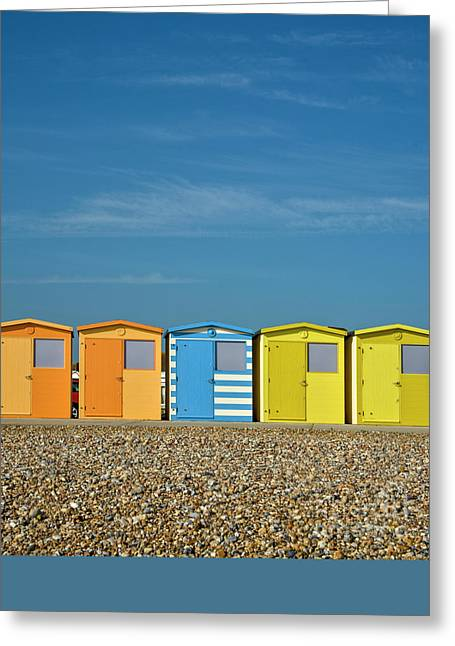 Beach Huts At Seaford Greeting Card by Heiko Koehrer-Wagner
