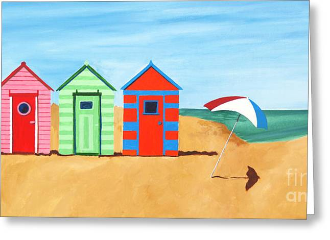 Beach Huts II Greeting Card by James Lavott