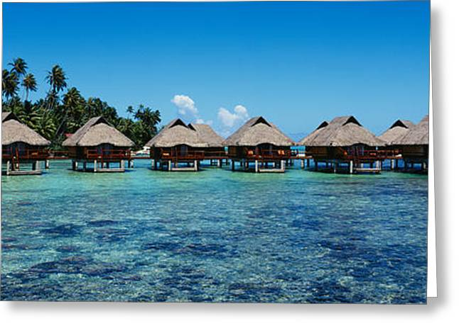 Beach Huts On Water, Bora Bora, French Greeting Card by Panoramic Images