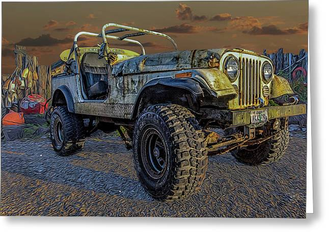 Beach Jeep Greeting Card