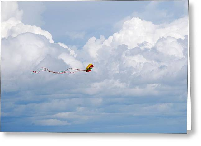 Beach Kite Greeting Card by Peter  McIntosh