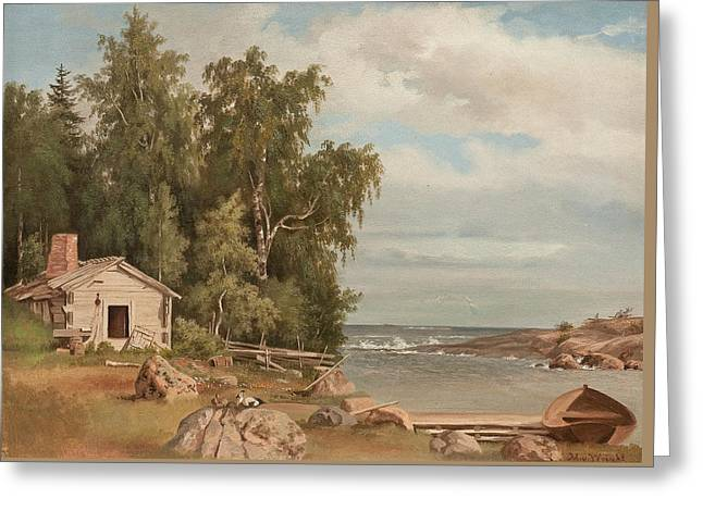 Beach Landscape From Lovo Greeting Card by Magnus von Wright