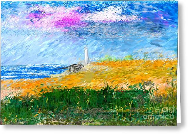 Beach Lighthouse Greeting Card by David Lane