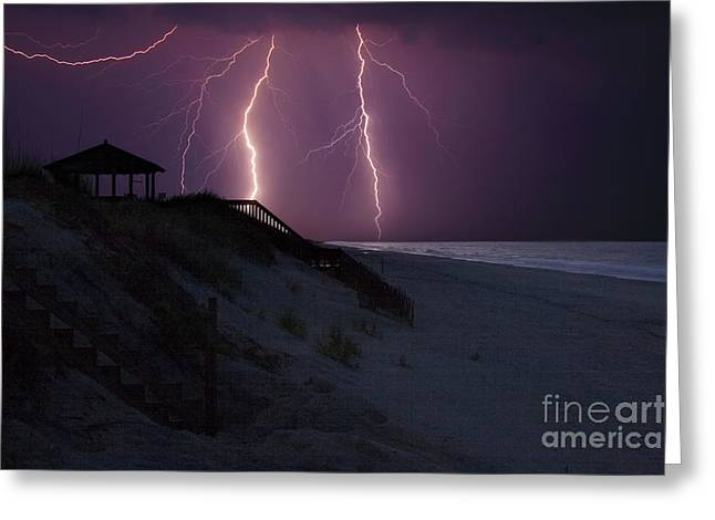 Beach Lighting Storm Greeting Card by Randy Steele