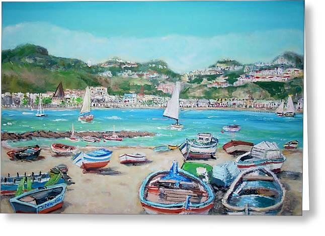 Beach Naxos In Sicily Greeting Card