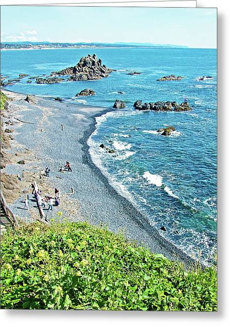 Beach Near Yaquina Lighthouse On Yaquina Head Outstanding Natural Area In Newport, Oregon Greeting Card