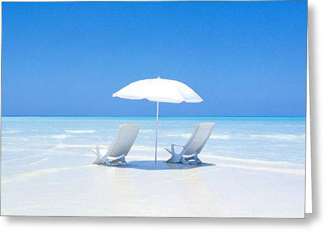 Beach, Ocean, Water, Parasol And Greeting Card