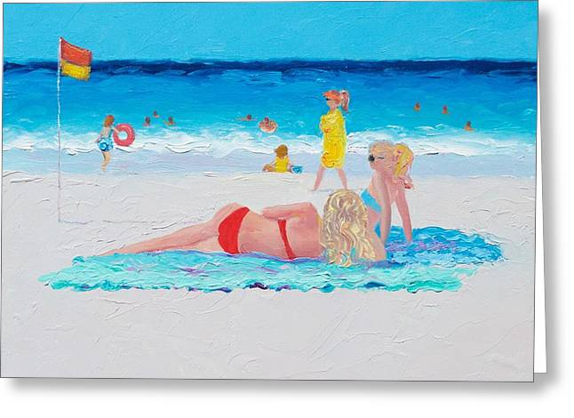 Beach Painting - A Lazy Day Greeting Card by Jan Matson