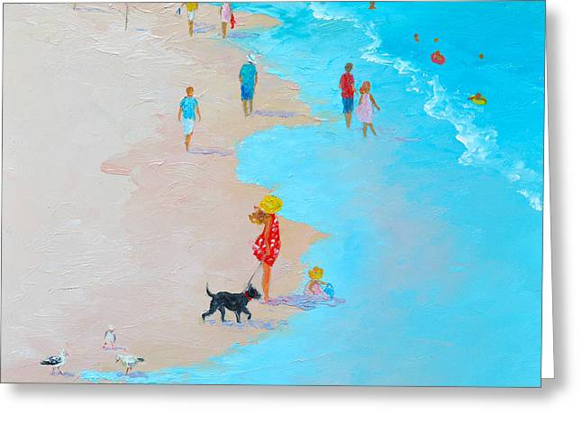 Beach Painting - Beach Day - By Jan Matson Greeting Card by Jan Matson