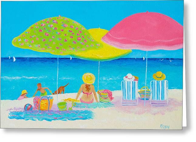 Beach Painting - Beach Life Greeting Card by Jan Matson