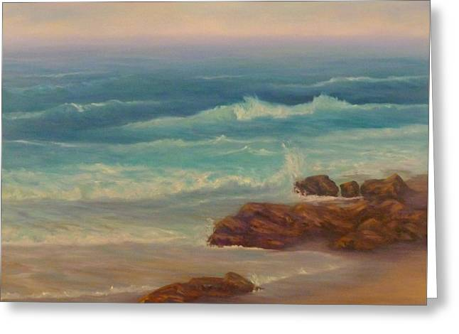 Beach Painting Beach Rocks  Greeting Card