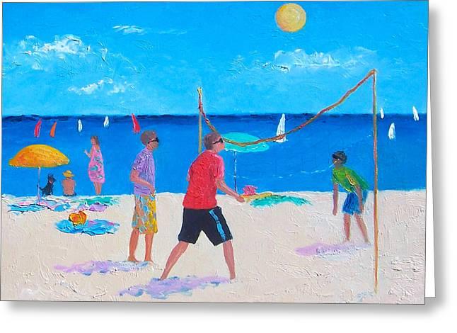 Beach Painting Beach Volleyball  By Jan Matson Greeting Card by Jan Matson