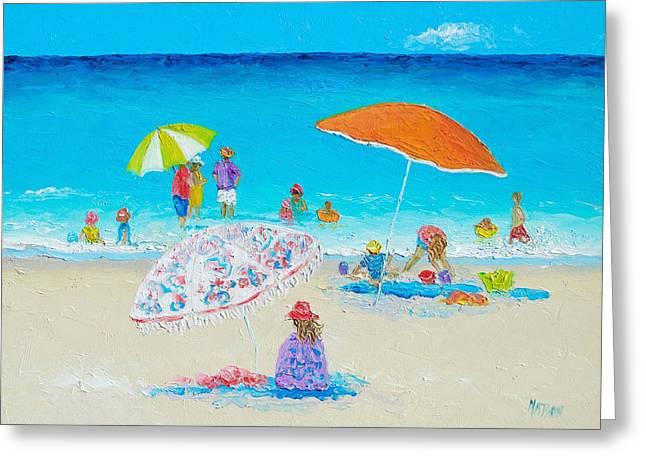Beach Painting - Blazing Hot  Greeting Card