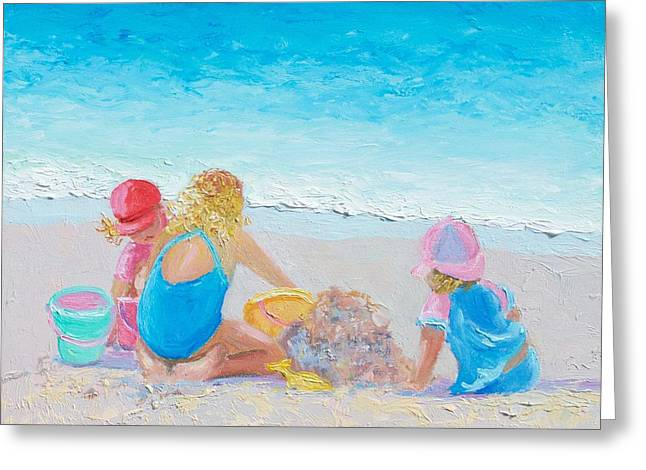 Beach Painting - Building Sandcastles Greeting Card by Jan Matson