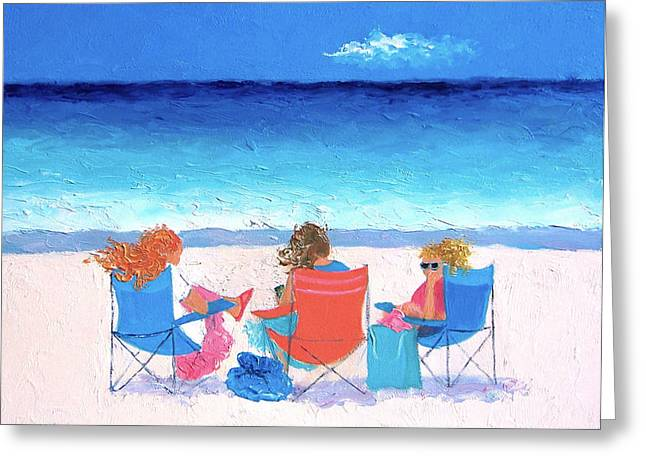Beach Painting - Girl Friends - By Jan Matson Greeting Card by Jan Matson