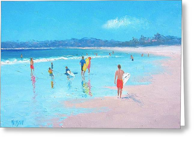 Beach Painting Last Days Of Summer Greeting Card by Jan Matson