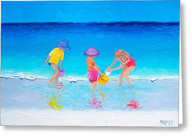 Beach Painting - Water Play  Greeting Card by Jan Matson