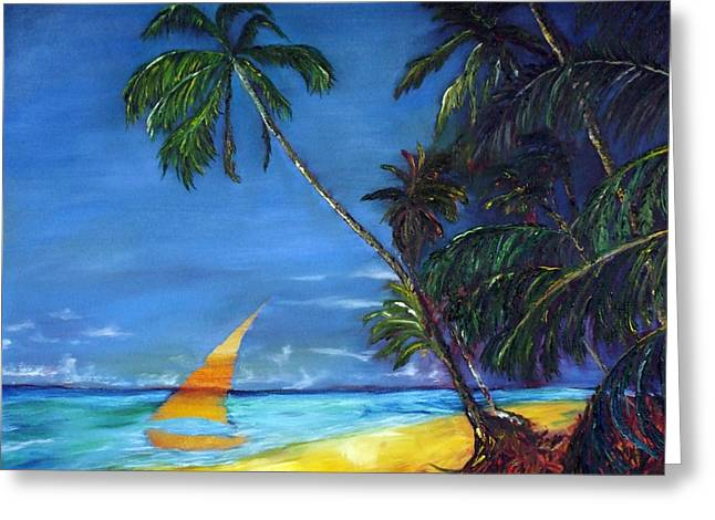 Beach Palm Sailboat Greeting Card by Gregory Allen Page