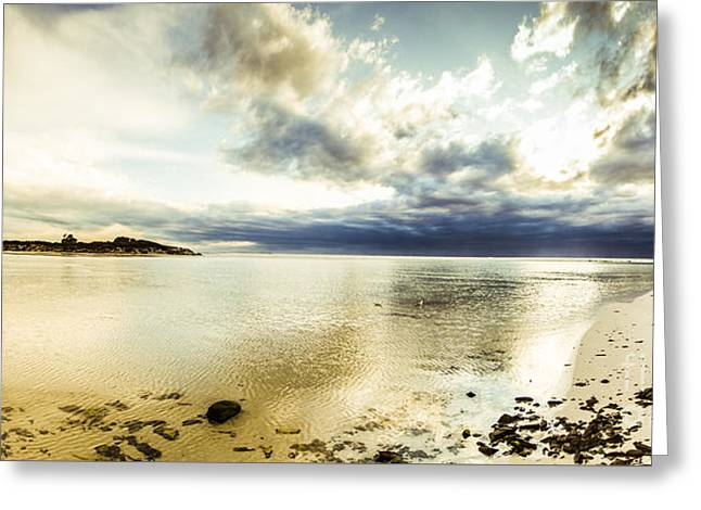 Beach Panorama Of A Sunrise Over The Sea Greeting Card