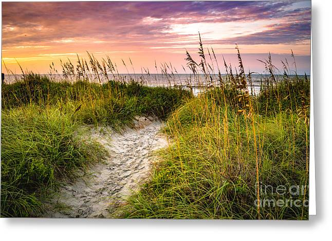 Beach Path Sunrise Greeting Card