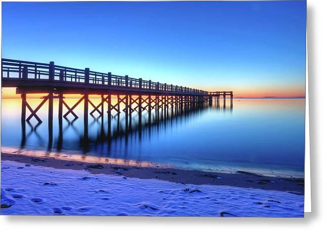 Take A View Greeting Cards - Beach Pier At Winter Sunrise Greeting Card by John Supan
