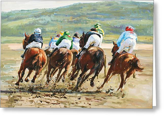 Beach Races Greeting Card by Conor McGuire