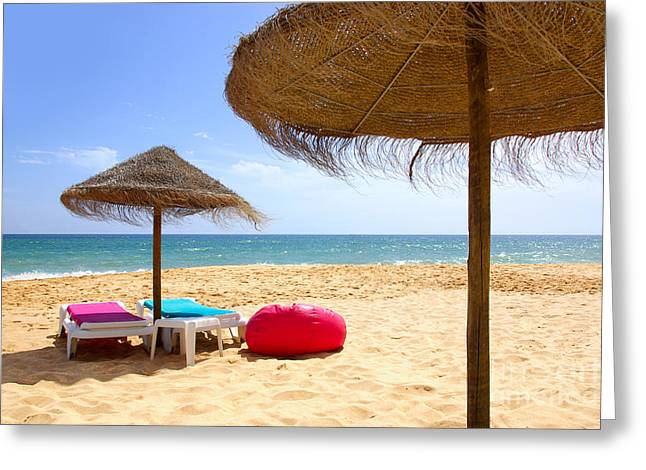 Shade Photographs Greeting Cards - Beach Relaxing Greeting Card by Carlos Caetano