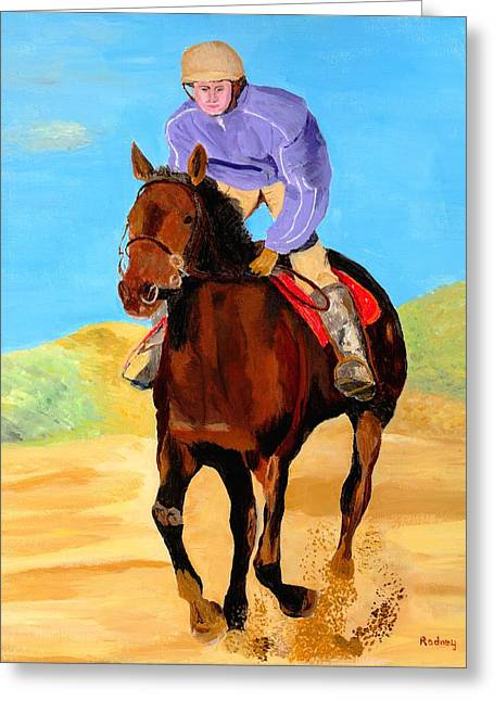 Greeting Card featuring the painting Beach Rider by Rodney Campbell