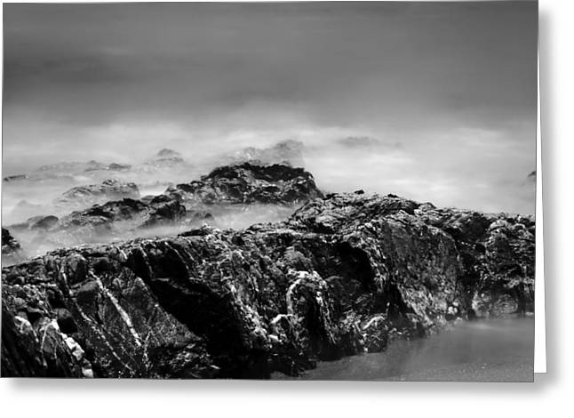 Beach Rocks And Surf In Mono Greeting Card