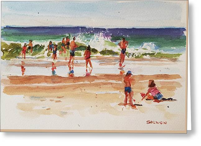 Beach Scene, Afternoon Greeting Card by Peter Salwen