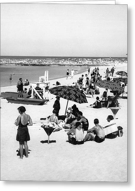 Beach Scene At Cape Cod Greeting Card by Underwood Archives