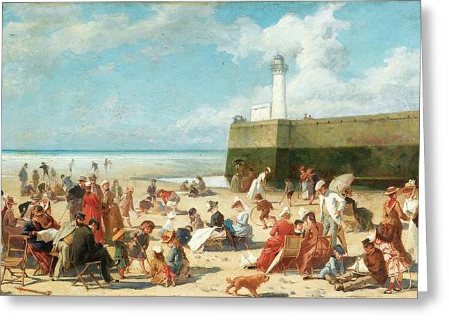 Beach Scene In The Summertime Greeting Card by Alcide