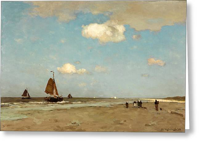 Greeting Card featuring the painting Beach Scene by Jan Hendrik Weissenbruch