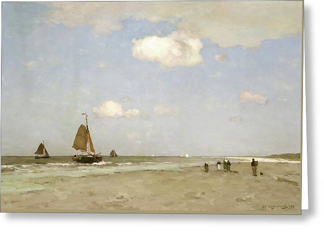 Beach Scene Greeting Card by Johannes Hendrik Weissenbruch