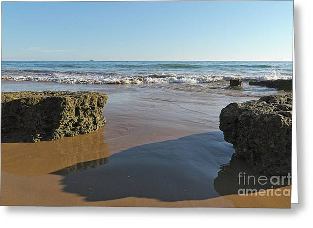Beach Scene Of Waves Coming In Gale Beach, Portugal Greeting Card by Angelo DeVal