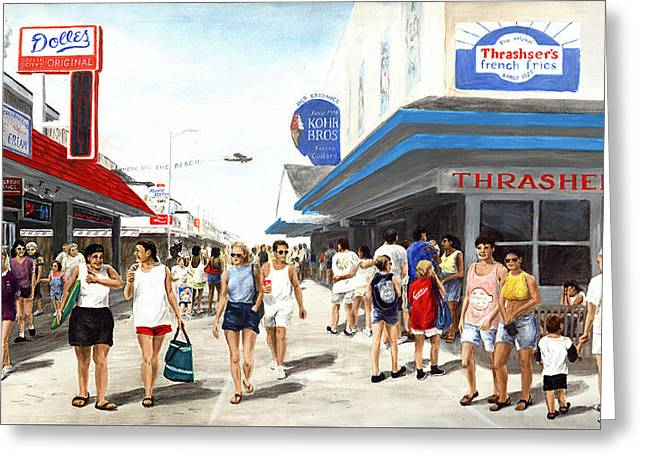Greeting Card featuring the painting Beach/shore I Boardwalk Ocean City Md - Original Fine Art Painting by G Linsenmayer
