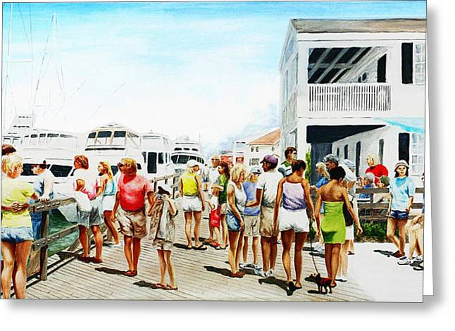 Greeting Card featuring the painting Beach/shore II Boardwalk Beaufort Dock - Original Fine Art Painting by G Linsenmayer