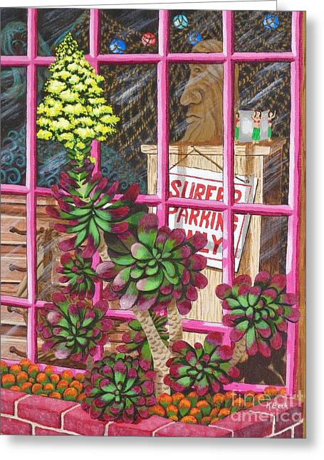 Greeting Card featuring the painting Beach Side Storefront Window by Katherine Young-Beck