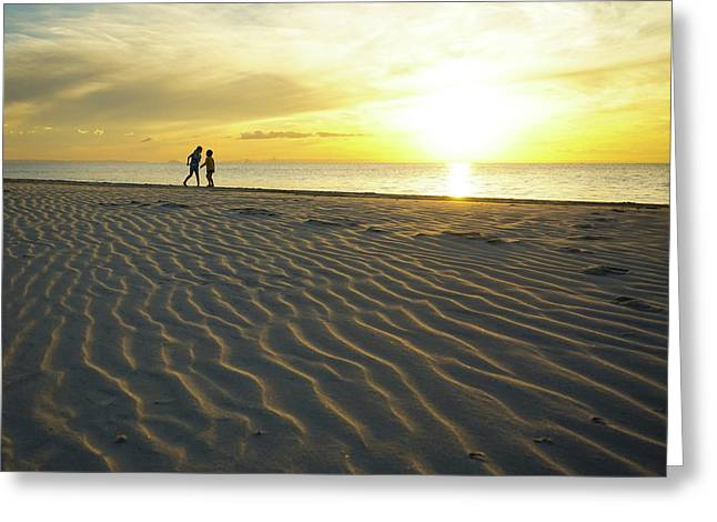 Beach Silhouettes And Sand Ripples At Sunset Greeting Card