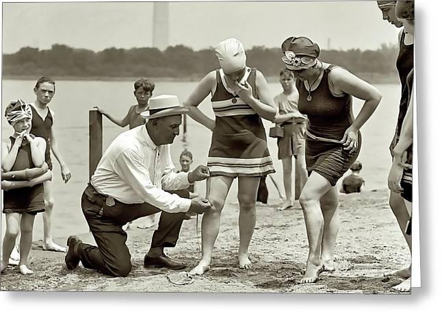 Beach Skirt Patrol 1922 Greeting Card by Daniel Hagerman
