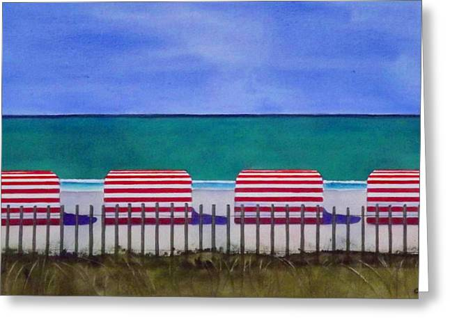 Beach Stripes Greeting Card by Cory Clifford