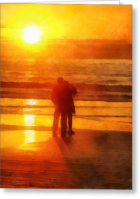 Beach Sunrise Love Greeting Card by Francesa Miller