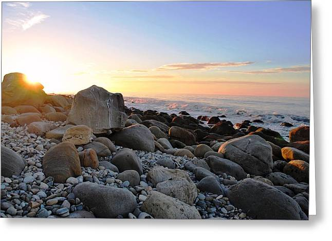 Beach Sunrise Over Rocks Greeting Card