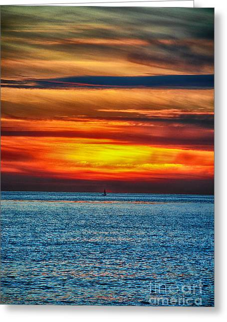 Greeting Card featuring the photograph Beach Sunset And Boat by Mariola Bitner