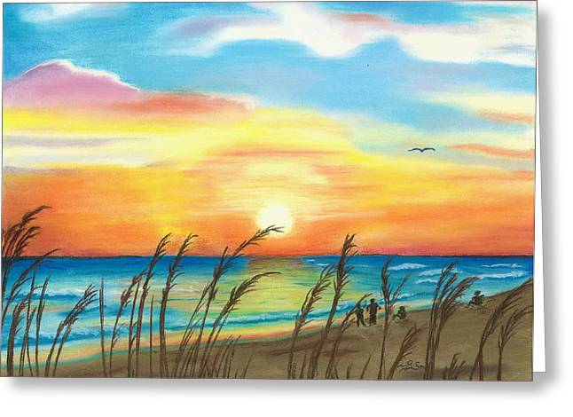 Beach Sunsets Pastels Greeting Cards - Beach Sunset Greeting Card by Bonnie Schallermeir
