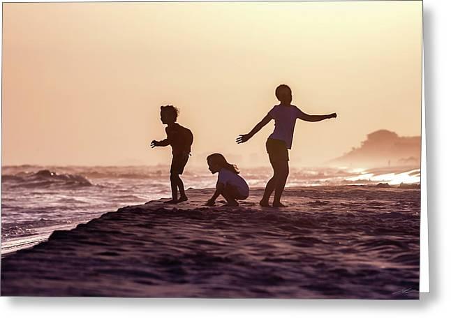 Beach Sunset Dance Greeting Card