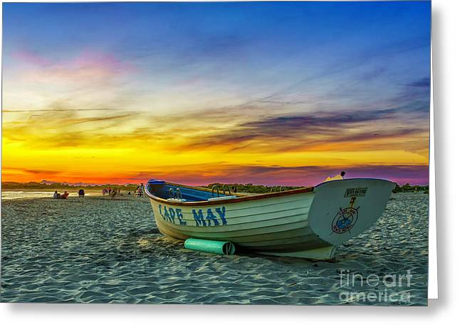 Beach Sunset In Cape May Greeting Card