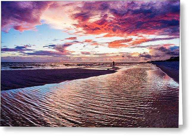 Beach Sunset Ripple Time Greeting Card