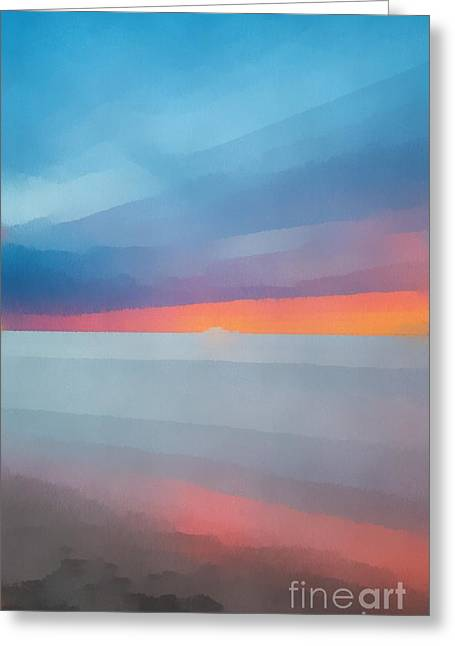 Beach Sunset Seven Greeting Card by Edward Fielding